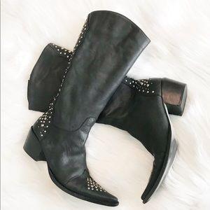 Matisse leather studded western block heel boots